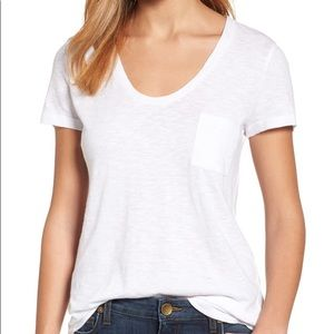 Caslon White Rounded V Neck   T Shirt SzSm